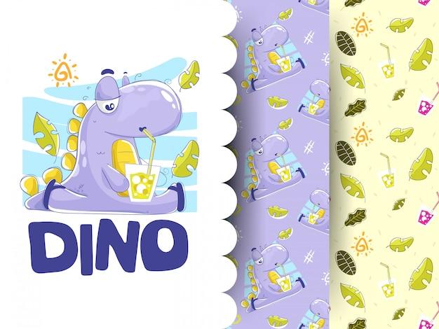 パターンの背景を持つ恐竜飲用ソーダのイラスト