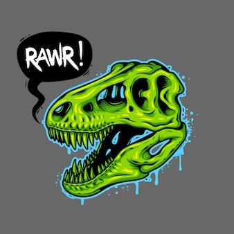 Иллюстрация черепа динозавра с текстом пузыря. тираннозавр рекс. футболка с принтом