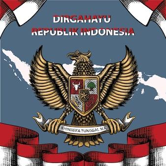 Dirgahayurepublikインドネシアのお祝いの背景のイラスト