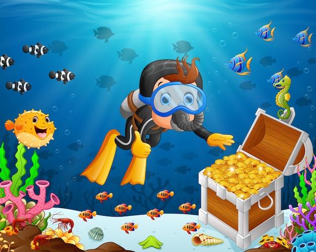 Иллюстрация водолаза под морем
