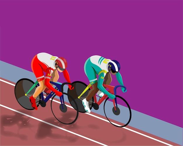 チャンピオンシップコンセプトのロードトラック上の多様な陸上競技のレーシング自転車のイラスト。