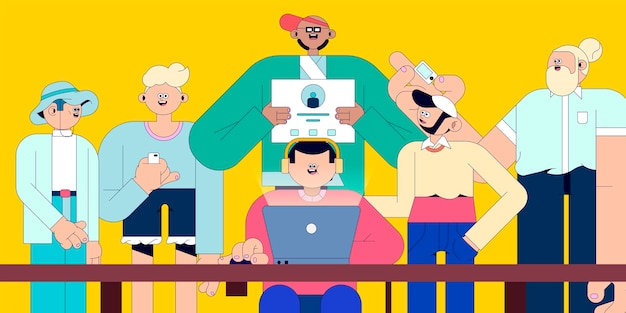 Иллюстрация разных людей в векторе социальных сетей