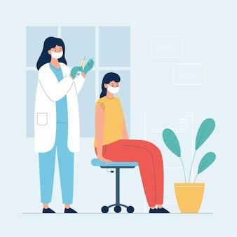 병원에서 환자에게 백신을 주입하는 의사의 그림