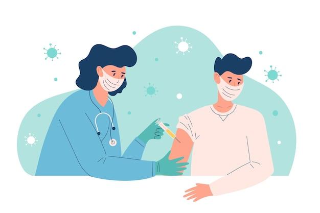 Иллюстрация врача, вводящего вакцину пациенту в клинике