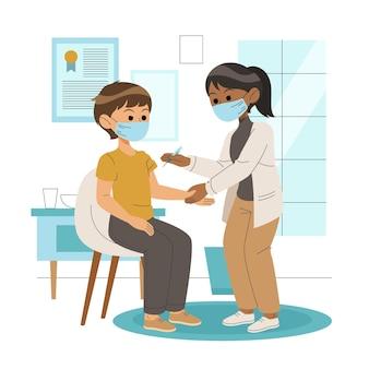 クリニックで患者にワクチンを注射する医師のイラスト