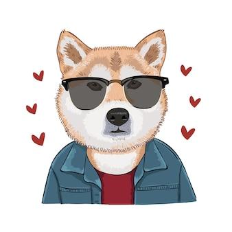 Иллюстрация собаки в очках сиба ину