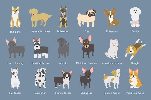 犬のコレクションのイラスト