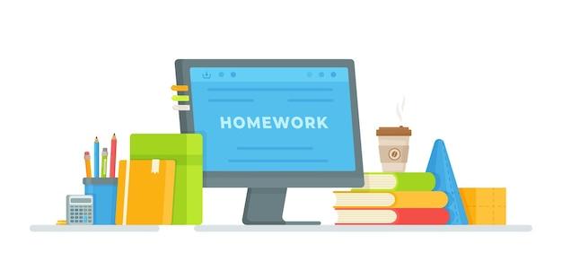 コンピューターで宿題をするイラスト。試験の準備。