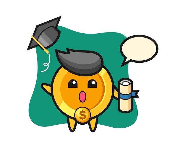 卒業式で帽子を投げるドル硬貨漫画のイラスト
