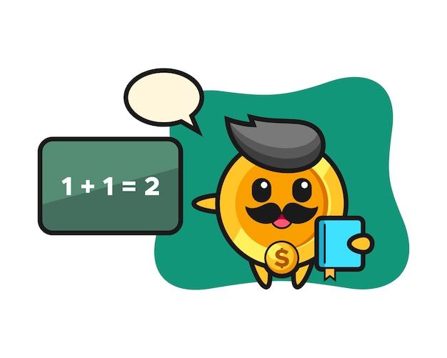 教師としてのドルコインキャラクターのイラスト
