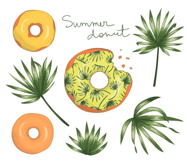緑のヤシの木と黄色のアイシングでドーナツのイラストを残します。オリジナルの夏メニューデザイン。トロピカルデザートコンセプト。エキゾチックなドーナツ