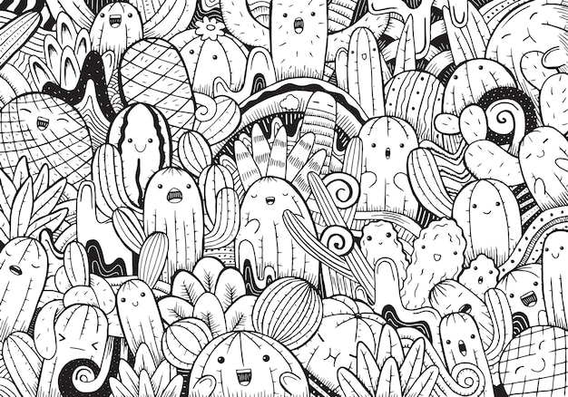 Иллюстрация каракули кактуса в мультяшном стиле