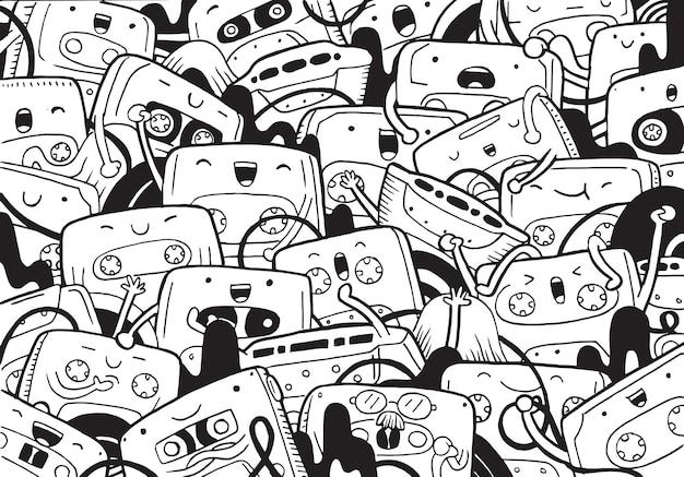 Иллюстрация кассеты каракули в мультяшном стиле