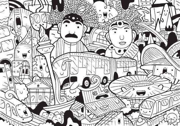 Иллюстрация каракули городского пейзажа джакарты в мультяшном стиле