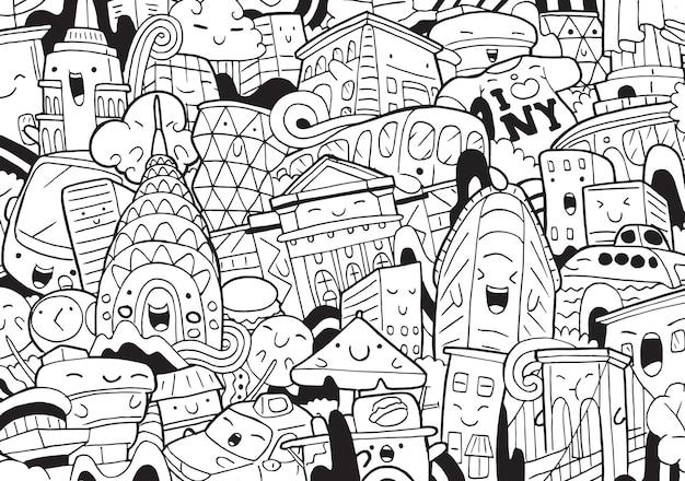 Иллюстрация каракули городской пейзаж нью-йорка в мультяшном стиле