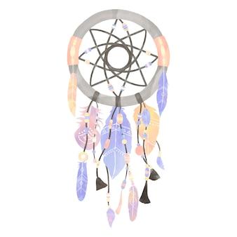 깃털로 장식 된 드림 캐쳐의 그림