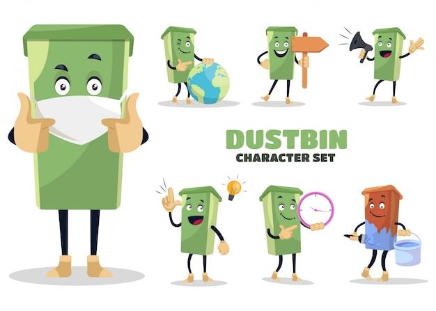 ゴミ箱の文字セットのイラスト
