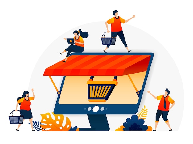 쇼핑 카트 은유와 지붕이있는 모니터와 함께 온라인 전자 상거래의 그림. 도매 및 소매 온라인 상점.