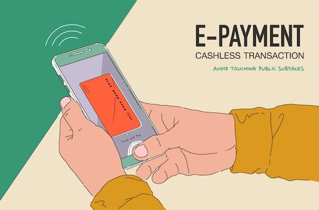 電子決済バナーのイラスト。電話および接続されたクレジットカードで支払うオンラインモバイル。公共の表面に触れないようにするための新しい通常のライフスタイル。