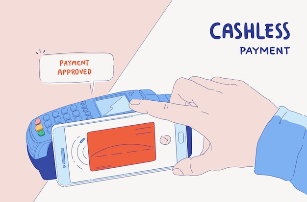 電子決済バナーのイラスト。電話および接続されたクレジットカードで支払うオンラインモバイル。支払いが承認されました。キャッシュレス社会。