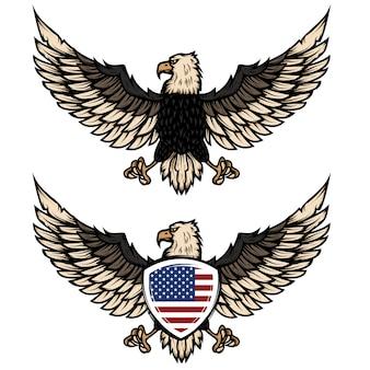 アメリカの旗とワシのイラスト。ポスター、チラシ、エンブレム、サインの要素。図。