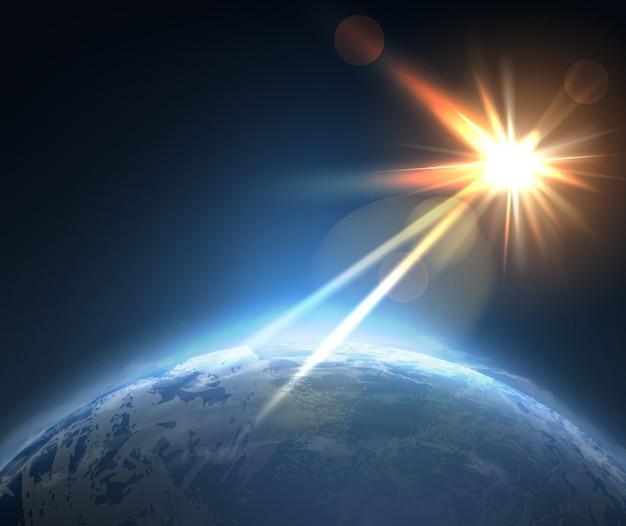 우주에서 지구 표면과 태양의 그림