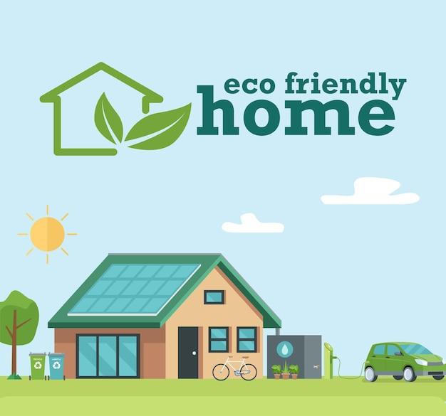 친환경 지속 가능한 현대 주택의 삽화.