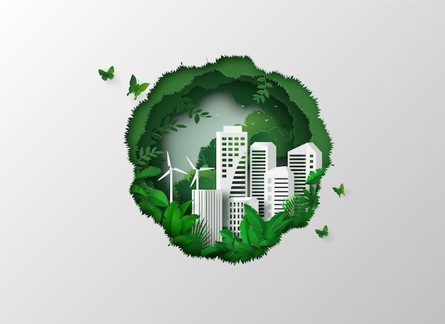 Иллюстрация экологии и окружающей среды с зеленым городом. бумага вырезана.