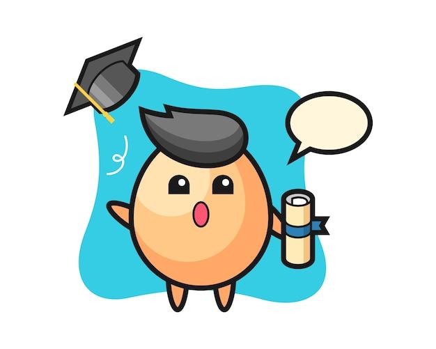 卒業、tシャツ、ステッカー、ロゴの要素のかわいいスタイルのデザインで帽子を投げる卵漫画のイラスト