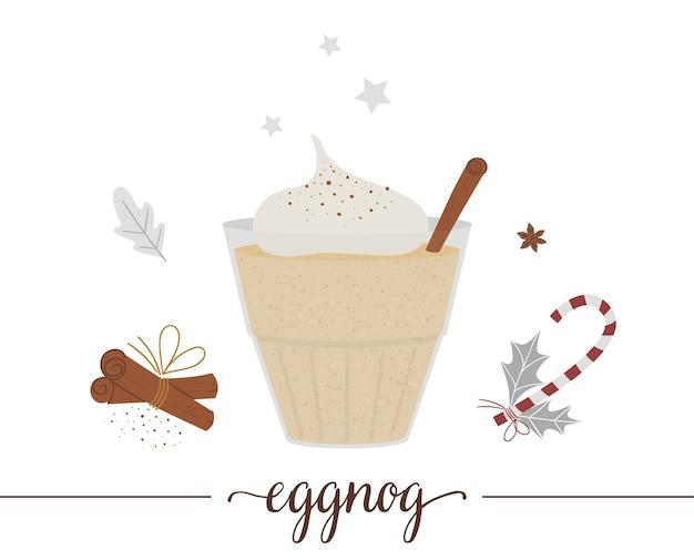白い背景で隔離のエッグノッグのイラスト。冬の伝統的な飲み物。卵、砂糖、アニス、シナモンを含むホリデーホットドリンク。