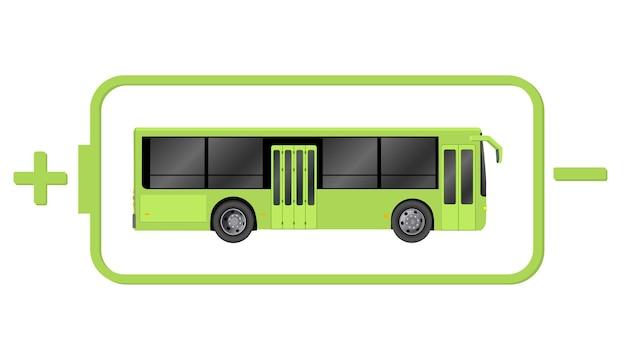 Иллюстрация электрического пассажирского транспорта. векторные иллюстрации шаблон экологического автобуса green city.