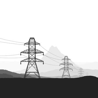 風景のシルエットを介してワイヤーで接続された電気塔のイラスト