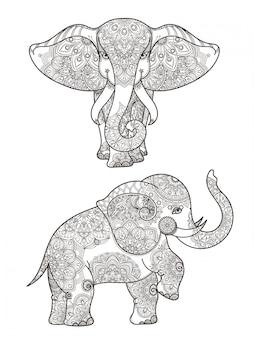 マンダラと象のイラストベクター装飾。象の民族パターンマンダラ装飾