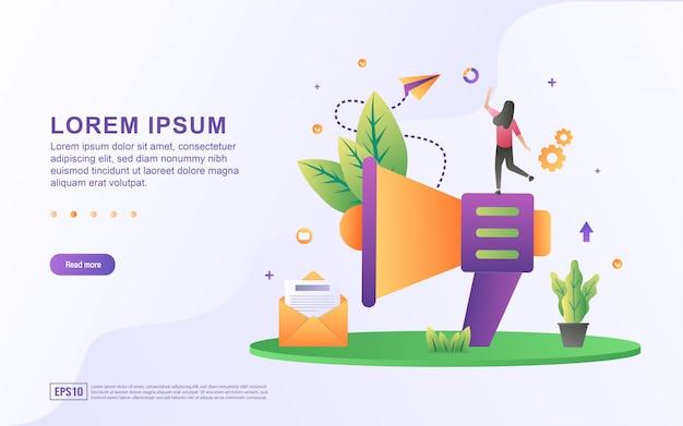 이메일 마케팅 및 이메일 및 확성기 아이콘으로 온라인 광고의 그림.