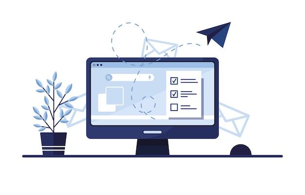 완성 된 신청서와 함께 집이나 사무실의 직장 모니터에 이메일 마케팅을하는 그림.