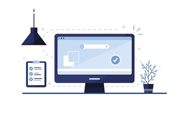 メールマーケティングのイラスト。リストを行うには。チェックリスト。自宅、オフィスの職場。ラップトップ。サイトの完成した申請書。書類の記入。モニター画面。青い。 eps 10