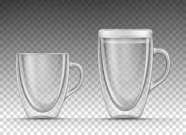 透明な背景に分離された現実的なスタイルで飲み物のための二重壁の空のガラスカップのイラスト。ハンドルと蓋付きのマグカップ。