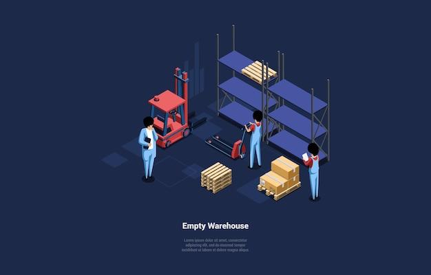 棚と箱のある空の倉庫のイラスト。漫画の3dスタイルのアイソメトリック構成