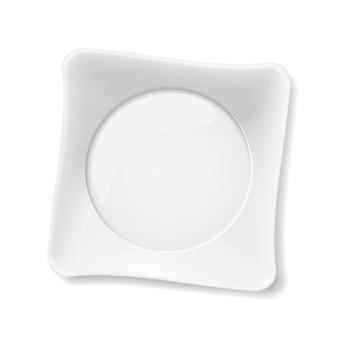 흰색 바탕에 빈 흰색 접시의 그림