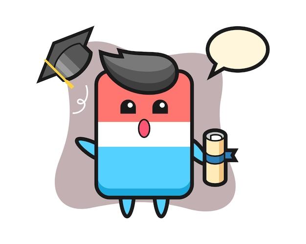卒業式、かわいいスタイルのデザインで帽子を投げる消しゴム漫画のイラスト