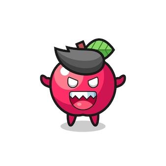 Иллюстрация талисмана злого яблока, милый стиль дизайна для футболки, наклейки, элемента логотипа