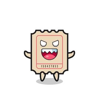 사악한 티켓 마스코트 캐릭터의 그림, 티셔츠, 스티커, 로고 요소를 위한 귀여운 스타일 디자인