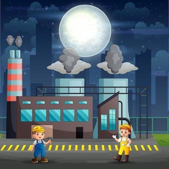 夜に働く工場労働者のイラスト