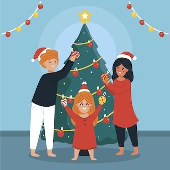 一緒にクリスマスツリーを飾る家族のイラスト