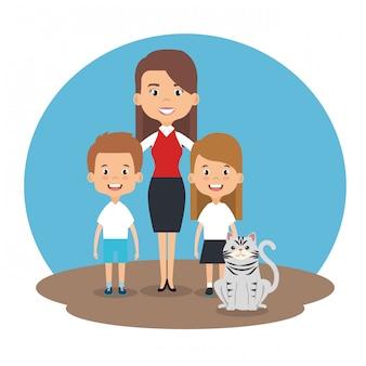 애완 동물 캐릭터와 함께 가족의 그림