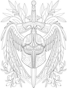 ピアスロングソードと大きな翼を持つ幻想的なハードウォリアーヘルメットのイラスト。大きな羽を描く装甲バービュート線画を駆け抜ける武器
