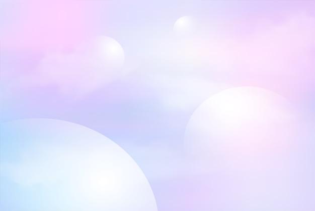 판타지 갤럭시 배경 및 파스텔 색상의 그림