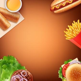 ファーストフードの食事のイラスト:フライドポテト、ホットドッグ、チーズバーガー