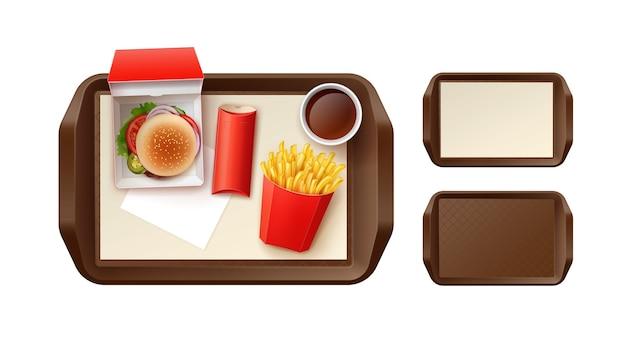 ハンバーガーとファーストフードセットのイラスト