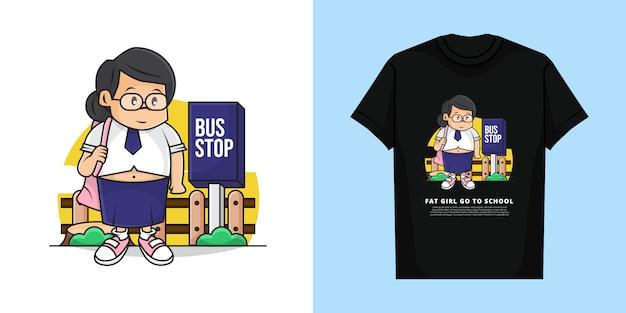バスを待っている太った女の子のイラストがtシャツのデザインで学校に行く